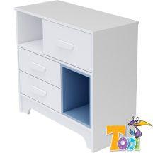 Todi Bianco 3 fiókos komód - bordázott fehér/kék