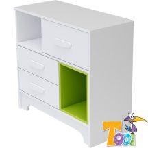 Todi Bianco 3 fiókos komód - bordázott fehér/zöld