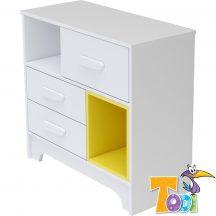 Todi Bianco 3 fiókos komód - bordázott fehér/sárga