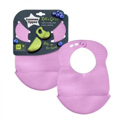 Tommee Tippee Explora Roll n Go Bib műanyag előke (Purple)