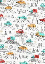 1db-os színes,mintás textil pelenka - járművek  a hegyen