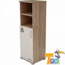 Todi Zoo keskeny nyitott polcos + 1 ajtós szekrény - sonoma tölgy/krém