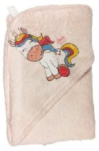 Fürdőlepedő kapucnis 80*90cm - Unikornis rózsaszín
