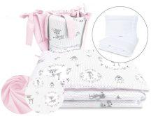 5 részes babaágynemű - őzike szürke/rózsaszín