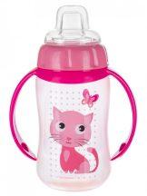 Canpol Trainig Cup cseppmentes itatópohár 320 ml pink cica