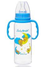 Baby Bruin polipropilén fogantyús cumisüveg, 240ml maci holdon kék