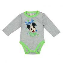 """Disney Baby hosszú ujjú body 50cm szürke/zöld - Mickey """"Good days"""""""