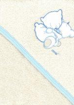 Trimex kapucnis,frottír fürdőlepedő 70*80 cm - beige/kék ölelő maci