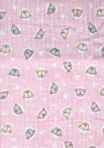 1db-os  mintás textil pelenka   - rózsaszín macis
