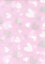 1db-os  mintás textil pelenka rózsaszín - szívecske