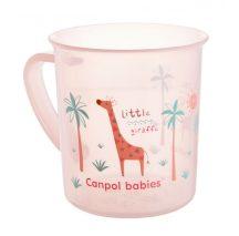 Canpol babies műanyag pohár fogóval, mikrózható,170 ml - rózsaszín