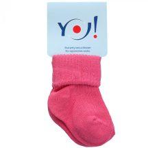 Yo! Baby pamut zokni - pink 6-9 hó