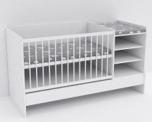 Baby Shop Basic – kombiágy (ágyneműtartó nélkül) bordázott fehér