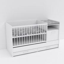 Baby Shop Basic – kombiágy (ágyneműtartóval) bordázott fehér
