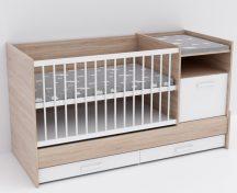 Baby Shop Basic – kombiágy (ágyneműtartóval) sonoma tölgy/bordázott fehér