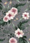Flanel színes,mintás pelenka - szürke virágok