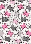 1db-os színes,mintás textil pelenka - szürke rózsaszín egérke