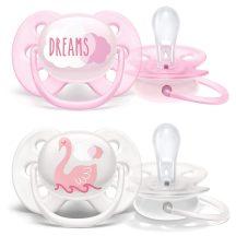 Avent Ultra soft 0-6hó játszócumi fehér/rózsaszín dreams