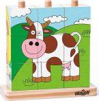 Woodyland: Állatos fa kockakirakó játék