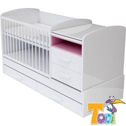 Todi Bianco kombi kiságy pelenkázó komóddal - bordázott fehér/pink