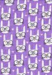 1db-os színes,mintás textil pelenka - lila szemüveges cica