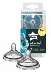 Tommee Tippee Advanced Anti-Colic+ 2db-os szilikon 0+ etetőcumi - Variábilis folyású
