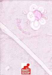 Trimex kapucnis,frottír fürdőlepedő 100*110 cm - rózsaszín virág