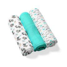 BabyOno színes,mintás textilpelenka bambusz 3db-os türkíz