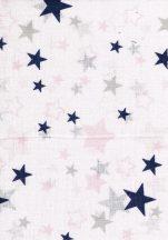 1db-os mintás pelenka - kék/rózsaszín/szürke csillagok
