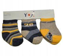 Yo! Baby Frottír zokni 3 db-os  0-3 hó  - kék/szürke