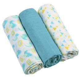 BabyOno 3 db-os színes,mintás  textil pelenka - kék dinó