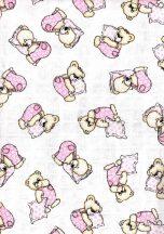 Baby Bruin mintás Tetra kifogó 90×100 cm - rózsaszin párnás maci