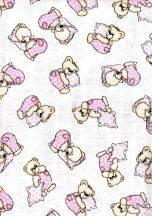Baby Bruin mintás Tetra kifogó 90×140 cm - rózsaszin párnás maci