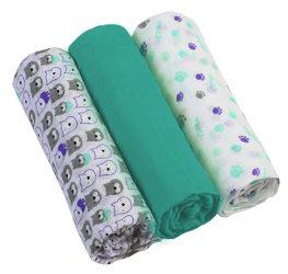BabyOno 3 db-os színes,mintás textil pelenka sötétzöld/lila maci