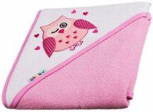 Kapucnis fürdőlepedő 100*100 cm - bagoly rózsaszín