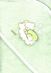 Trimex kapucnis,frottír fürdőlepedő 70*80 cm - zöld alvó maci