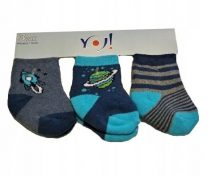Yo! Baby Frottír zokni 3 db-os  0-3 hó  - kék