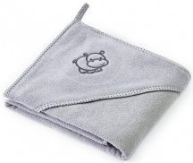 Kapucnis fürdőlepedő 80*80 cm - viziló szürke