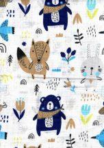 1db-os színes,mintás textil pelenka - erdei barátok fehér/kék