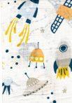 1db-os mintás pelenka - Űrhajó kék/sárga