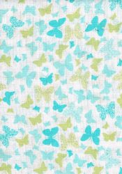 1db-os mintás pelenka - kék/ zöld  pillangó