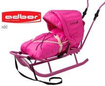 Adbor szánkó bundazsákkal  és kupolával - rózsaszín