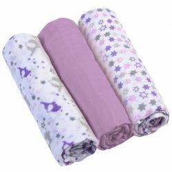 BabyOno 3 db-os színes,mintás textil pelenka - lila csillagos/elefántos