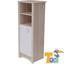 Todi Magic keskeny, nyitott polcos + 1 ajtós szekrény - szilfa/fényes fehér